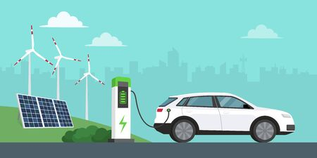 Electric car charging at the station, solar panels, wind turbines