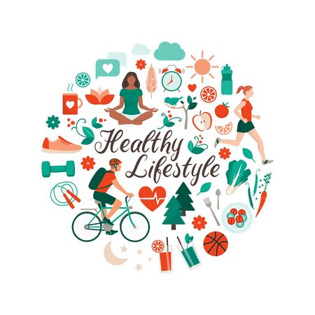 Healthy lifestyle and self-care concept with food, sports and nature icons arranged in a circular shape Vector Illustration