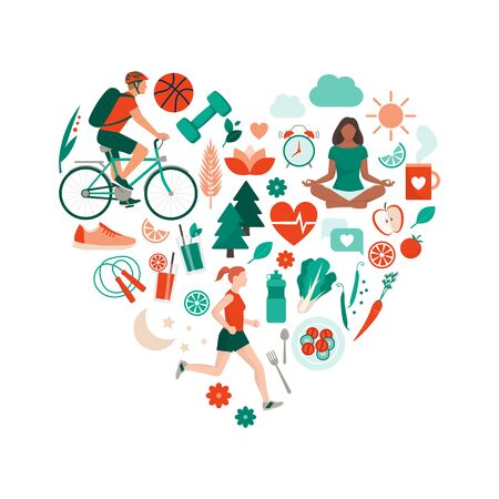 Healthy lifestyle and self-care concept with food, sports and nature icons arranged in a heart shape Иллюстрация