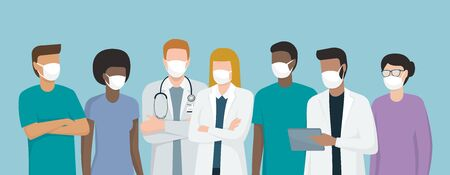 Doctors and medical staff wearing surgical masks, they are standing together, coronavirus prevention concept