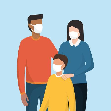 Family wearing a protective face mask, coronavirus covid-19 prevention 向量圖像