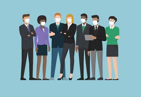 Business people wearing surgical masks and standing together, healthcare and prevention concept