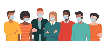 Group of people wearing surgical masks and standing together, prevention and safety procedures concept 向量圖像