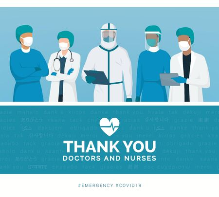 Thank you doctors and nurses working in the hospitals and fighting the coronavirus Ilustração