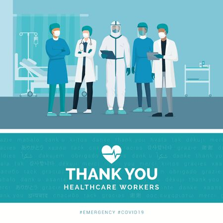 Thank you brave healthcare working in the hospitals and fighting the coronavirus outbreak Ilustración de vector