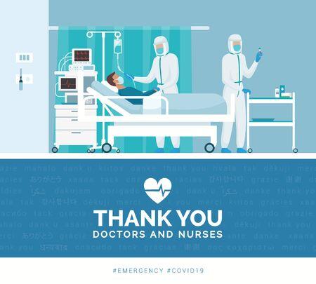 Thank you doctors and nurses working in the hospitals and fighting the covid-19 outbreak Ilustracje wektorowe