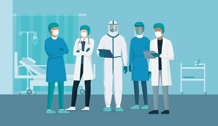 Professional doctors and nurses posing together in a hospital ward and wearing protective suits, virus outbreak emergency concept Illusztráció