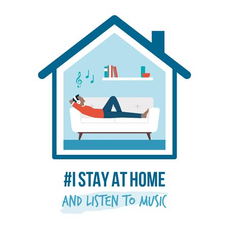 I stay at home awareness social media campaign and coronavirus prevention: man lying on the sofa and listening to music