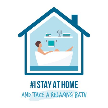 I stay at home awareness social media campaign and coronavirus prevention: woman taking a relaxing bath