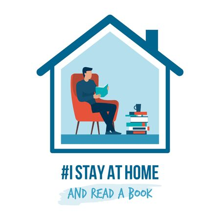 I stay at home awareness social media campaign and coronavirus prevention: man relaxing and reading books Ilustração