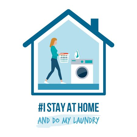 I stay at home awareness social media campaign and coronavirus prevention: woman doing her laundry Ilustração