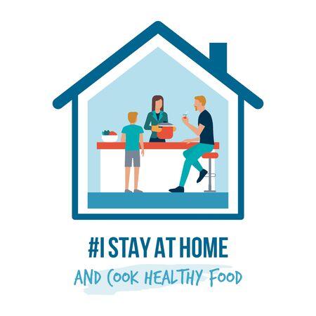 Me quedo en casa campaña de sensibilización en redes sociales y prevención del coronavirus: familia cocinando alimentos saludables juntos