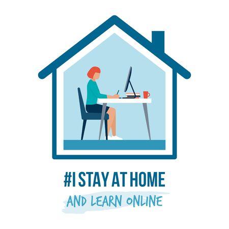 Je reste à la maison campagne de sensibilisation sur les réseaux sociaux et prévention des coronavirus : femme travaillant avec son ordinateur et apprenant en ligne Vecteurs