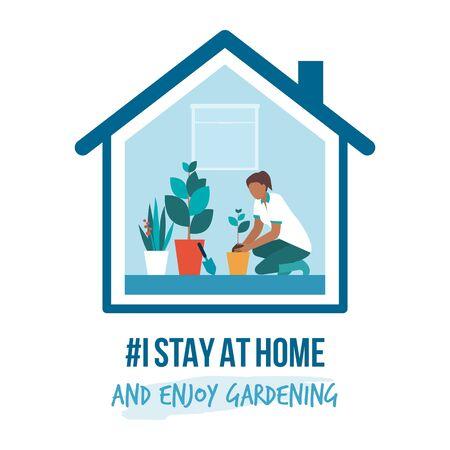 Ich bleibe zu Hause Sensibilisierungskampagne für soziale Medien und Prävention von Coronaviren: Frau genießt die Gartenarbeit zu Hause Vektorgrafik