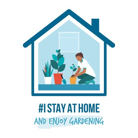 I stay at home awareness social media campaign and coronavirus prevention: woman enjoying gardening at home