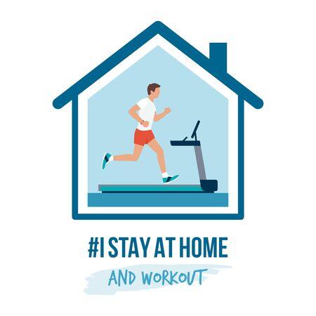 私は自宅で啓発ソーシャルメディアキャンペーンとコロナウイルス予防に滞在:自宅のトレッドミルで走っている男 ベクターイラストレーション