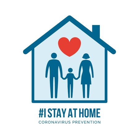 I stay at home awareness social media campaign and coronavirus prevention: family holding hands and supporting each other