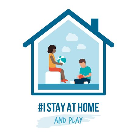 I stay at home awareness social media campaign and coronavirus prevention: kids playing together