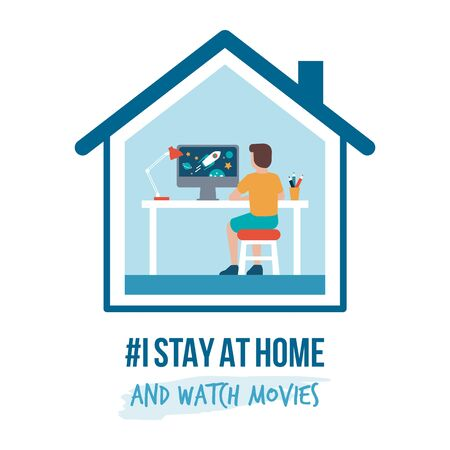 I stay at home awareness social media campaign and coronavirus prevention: kid connecting with his computer and watching sci-fi videos