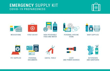 Coronavirus Covid-19 preparedness: emergency supply kit with essential items to keep at home