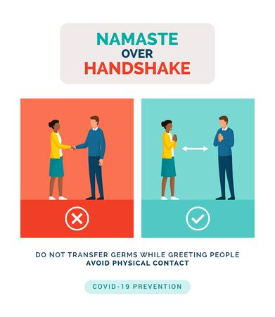 How to greet safely without touching the other person and prevent spreading of germs: namaste greeting over handshake