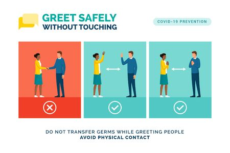 Alternative safe greetings to avoid physical contact and to practice social distancing: coronavirus covid-19 prevention