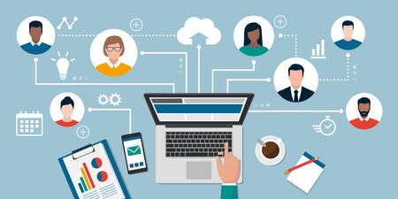 People with different skills connecting together online and working on the same project, remote working and freelancing concept