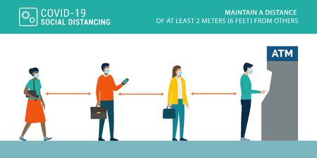 Social distancing and coronavirus covid-19 prevention: maintain a safe distance from others when using ATM and self service machines