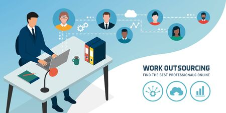 Corporate businessman connecting online with his laptop and hiring freelancers, work outsourcing concept Vector Illustration