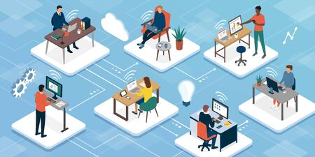 Teleworking and business teamwork: professional workers connecting with their computers and working with their colleagues online, working from home concept Ilustración de vector