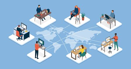 International business team connecting online together and teleworking: work outsourcing and telecommuting concept