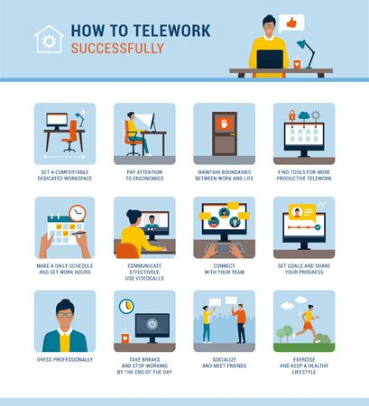 How to work from home successfully and boost productivity, vector infographic with advices Vektorgrafik