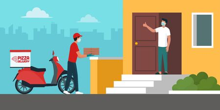 Safe pizza delivery at home during coronavirus covid-19 epidemic: delivery man bringing a pile of pizza boxes to a customer keeping a safe distance, he is wearing a protective face mask and gloves