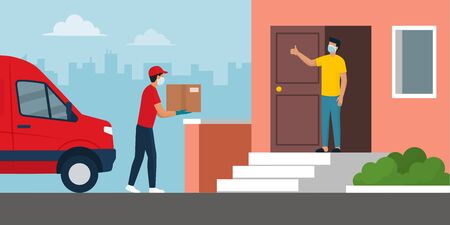Safe home delivery during coronavirus covid-19 epidemic: man delivering a box to a customer and leaving the box at a safe distance, he is wearing mask and gloves