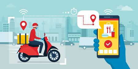 Safe fast food delivery during coronavirus covid-19 epidemic and app on a smartphone tracking the delivery man on a moped, technology and logistics concept, city skyline in the background Ilustración de vector