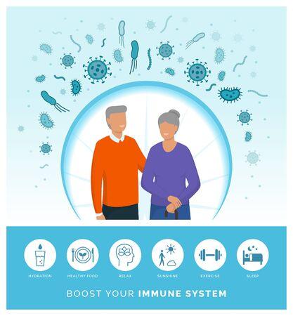 Seniors boosting their immune system and following a healthy lifestyle Vektoros illusztráció