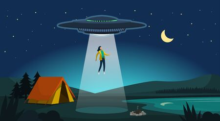 Alien abduction: ufo kidnapping a woman at night using a laser beam, extraterrestrials and mystery concept