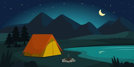 Camping in the forest at night, adventure and tourism concept