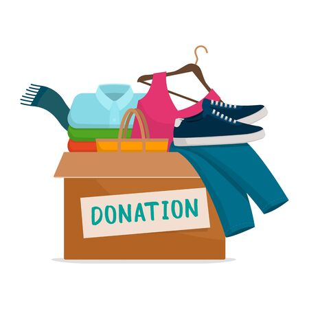 Donation box with assorted clothing and shoes on white background, solidarity and charity concept