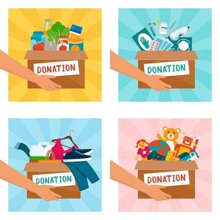 Voluntario sosteniendo cajas de donación con alimentos, equipo médico, ropa y juguetes.