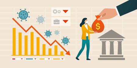 Impacto del coronavirus en la economía y la asistencia financiera: gráfico que muestra la crisis financiera y una mujer que recibe un paquete de ayuda del gobierno y los bancos centrales
