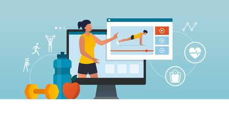 Fitness trainer online: professional coach showing how to workout in a video, distance learning and sports concept Vectores