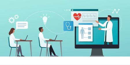 Online medical webinar and medicine courses: doctor teaching to academic students in the virtual class Vektoros illusztráció