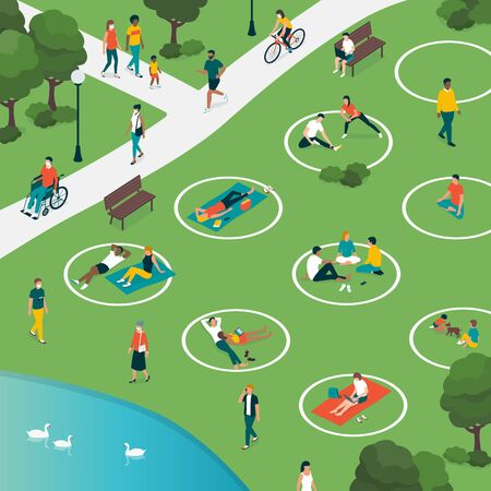 Social distancing circles in the city park and people relaxing safely outdoors, coronavirus covid-19 prevention
