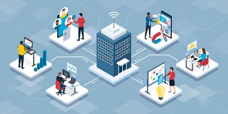 Professional business people connecting together and working remotely for an IT company, isometric infographic
