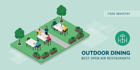 Outdoor dining restaurant: people eating outside in a beautiful garden and waitress taking orders Stock Illustratie