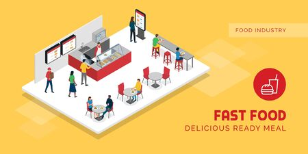 People eating at the fast food restaurant, they are sitting at tables and ordering food Banco de Imagens - 150435891