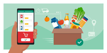 Online grocery shopping: user ordering groceries online using a mobile app, box with fresh food in the background, food delivery concept