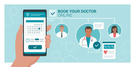 Book your doctor online: patient booking his appointment with a doctor using a mobile app, healthcare and technology concept