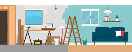 Home renovation process before and after, construction, painting and home decoration